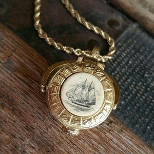 Jewelry - Scrimshaw Ship Basket Necklace